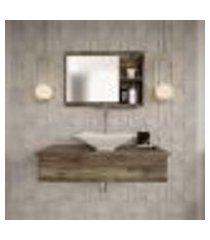 conjunto para banheiro bancada com cuba l38 folha e espelheira city 801 carvalho dark