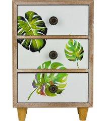 mini gaveteiro 3 gavetas tropical - marrom/multicolorido - dafiti