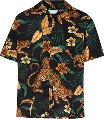 desmond & dempsey jungle print pajama shirt - black