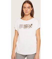 camiseta unicolor con estampado-m