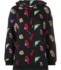 msgm patchwork loose hoodie - black