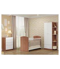 quarto completo infantil doce sonho multimóveis carvalho/branco com berço + guarda roupa 2 portas marrom