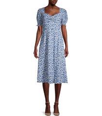 avantlook women's puff-sleeve floral dress - blue - size l