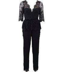 belted lace jumpsuit
