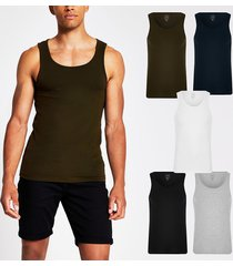 river island mens khaki muscle fit vest 5 pack