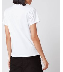 maison kitsuné women's t-shirt tricolor fox patch - white - l