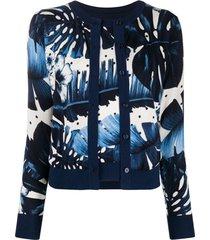 twin-set cardigan de tricô com sobreposição - azul