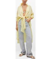 mango women's lyocell knot shirt