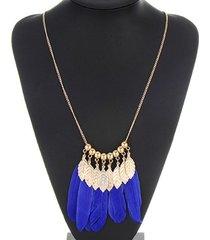 collar plumas azules cl-10403