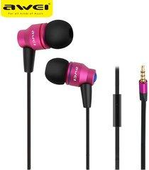 audífonos bluetooth manos llibres, awei es-800i en el oído estéreo con micrófono marca profesional auricular (rosa)