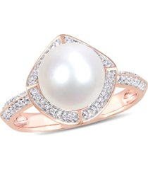 freshwater cultured pearl (8.5-9mm) and diamond (1/4 ct. t.w.) vintage halo ring in 10k rose gold