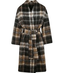 brunello cucinelli checked print belted cardi-coat